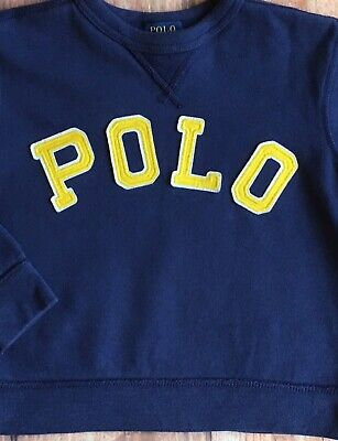 Ralph Lauren Polo Sweatshirt Size 3T Blue Pullover Logo Top Crew Neck Boys