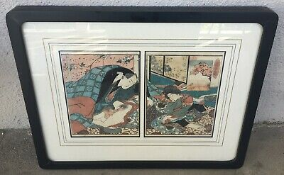 Original Antique Japanese Shunga Erotic Woodblock Print - Kuniyoshi (1797-1861)