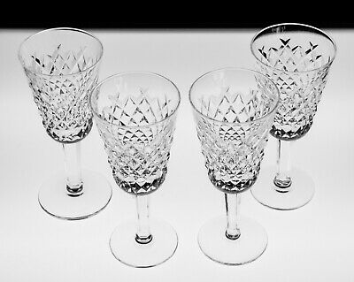 Four Elegant Waterford Alana Crystal Claret Glasses