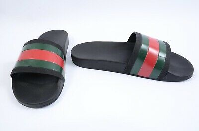3849e65e271d Gucci Pursuit black multi 10 rubber signature stripe slide sandal UK9 shoe   210
