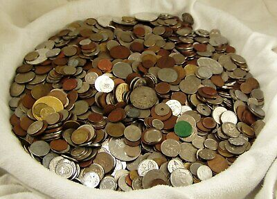 UNSEARCHED 15 POUND WORLD FOREIGN COIN LOT back to 1900's LOOK NICE