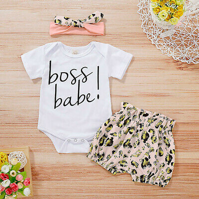 3PCS Baby Boyds Girls Letter Printed Romper Leopard Shorts+Headband Outfits Set