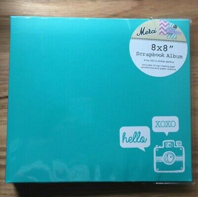 """8"""" x 8"""" Scrapbook Album With 10 Top Loading Pages  - Aqua - Brand New"""