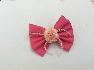 Girls Handmade Fabric Hair Bow Clip With Pink Ribbon Flowers & Beads
