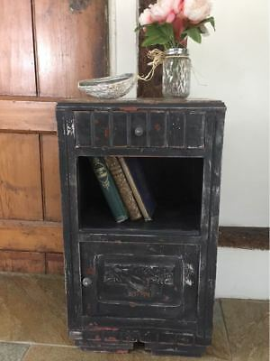 Antique French charcoal painted pot cupboard side table marble top c.1930's