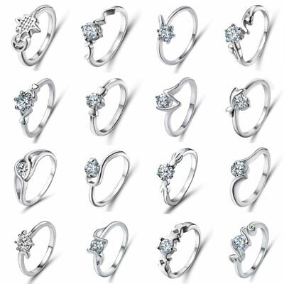 Women Silver Charm Jewellery Crystal Cubic Zircon Wedding Engagement Rings Band