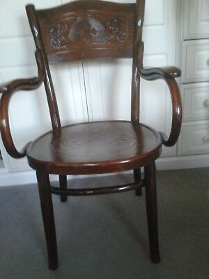 Antique Bentwood Thonet Cafe Armchair, Classic Design Captains Chair. Polish?