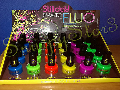 OFFERTA Smalto FLUO Ultra Brillante Lunga Durata Pennello Piatto Made in Italy