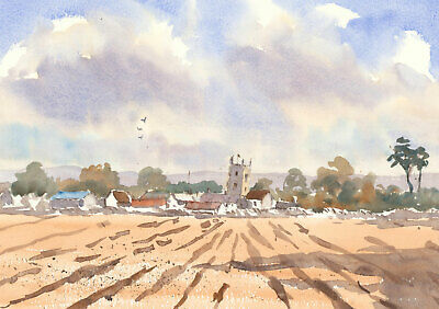 John A. Case - Contemporary Watercolour, Harvest Landscape