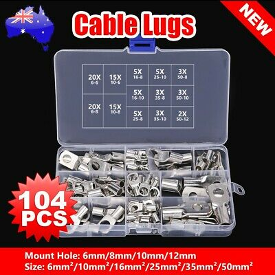 104 Hole Copper Cable Lug Kit 6mm 10mm 16mm 25mm 35mm 50mm Battery Terminal 4WD