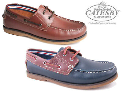 Mens Catesby Boat Shoes Genuine Leather Lace Up Deck Smart Casual Loafers