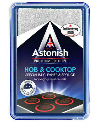 Astonish Hob & Cooktop Cleaner With Scourer Sponge 250g Cooker Top Cleaner