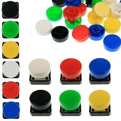 A37 Tactile Cap & Switch - Momentary Push Button - Round Flat Keycap - 6 Colours