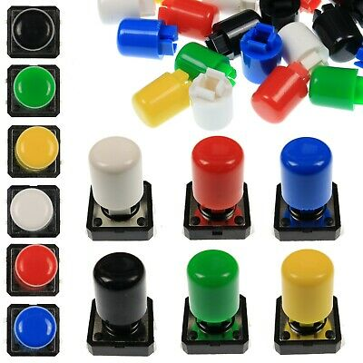 A21 Tactile Cap & Switch - Momentary Push Button - Tall Round Keycap - 6 Colours