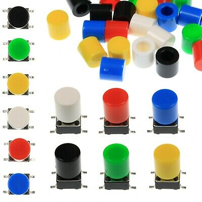 A56 Tactile Cap & Switch - Momentary Push Button - Round Flat Keycap - 6 Colours