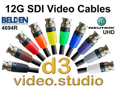 12G Ultra HD 8K 4K HD SDI Digital Video  Belden 4694R Neutrik UHD BNC Cable