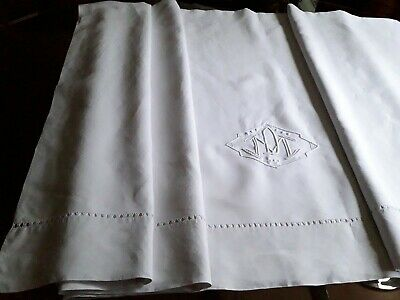 Drap10 ANCIEN DRAP FIL DE LIN brodé monog DM 235x324 OLD LINEN SHEET EMBROIDERED