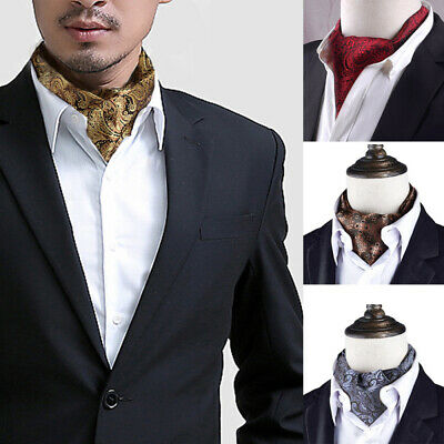8fe91117cb40 New Men Silk Cravat Scarves Paisley Polka Dots Ascot Wedding Party Self-tied  Tie