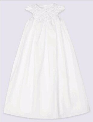 M&S 100% Pure Cotton Christening Gown Baby Dress 6-9m BNWT RRP £50