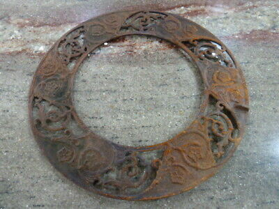 Vintage Cast Iron Stove Pipe Collar Grate. Victorian Motif, Steampunk