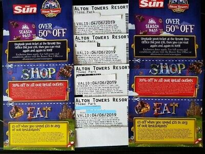 4 Tickets To Alton Towers For Tuesday 4th June