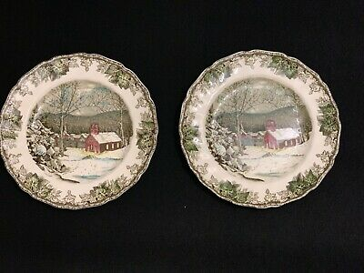 "2 Johnson Bros. ""Friendly Village"" The School House -9.85"" Dinner Plates England"