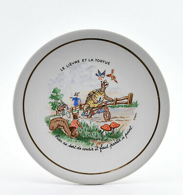 Le lièvre et la tortue assiette fable Lafontaine KG Luneville French ceramic