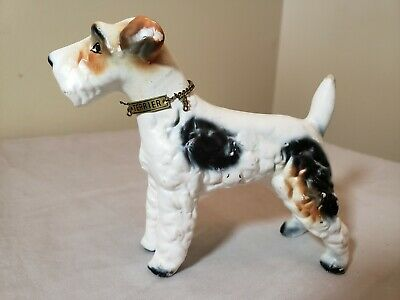 Vintage Porcelain Wire Hair Fox Terrier Dog Metal Collar Kreiss Figurine Japan