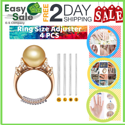 Ess Ring Size Adjuster Loose Coil Design Clear Invisible Reducers Guards 4 Pcs