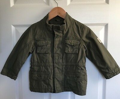BNWT Boys NEXT Cotton Khaki Star Lined Jacket - 1.5-2 Years