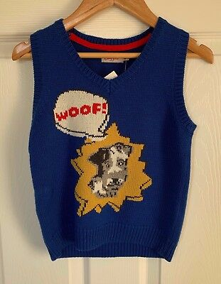 BNWT Boys CATH KIDSTON Blue Stanley Dog Knitted Tank Top - Age 5-6Yrs REDUCED