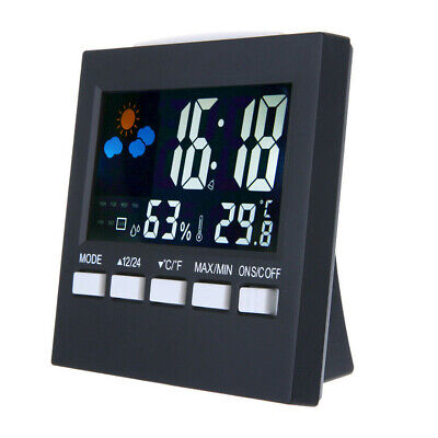 Thermometer Humidity Clock Colorful Alarm Calendar Weather LCD Digital Display