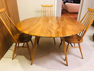 1960s Vintage Ercol Drop Leaf Dining Table In Excellent Condition, Mid Century