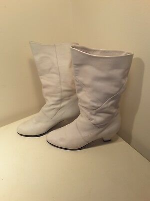 Ara Boots Slouch Vintage White  Leather  Boots Size 5 1/2 Ara 1980'S 90'S