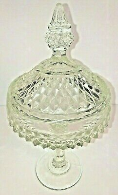 Vintage Lead-Crystal Glass Covered Dish (Diamond Cut) on Stand w/ top circa 1950