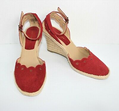 78c1dd3b0fa WOMENS NINE WEST Size 8M 8 Westport Red Suede Leather Wedge High Heel shoes