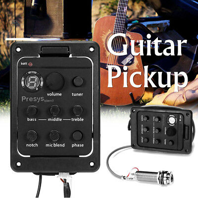 4-Band Presys Blend 301 Acoustic Guitar Pickup Preamp EQ Tuner Piezo Mic Beat ❤