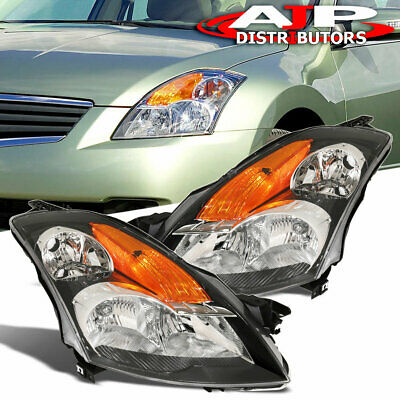 Fits 2007-2009 Nissan Altima 4Dr Black Amber Signal Clear Lens Headlights Lamps
