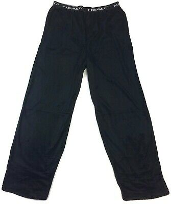HEAD Black Pajama Pants for Men Soft Sueded Fleece Front Fly Side Pockets