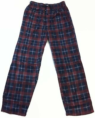 HEAD Navy Burgundy Men's Pajama Pants Soft Sueded Fleece Front Fly Side Pockets