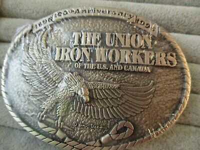 Iron Workers Union Belt Buckle Vintage 1996 New/ Never Worn Solid Brass