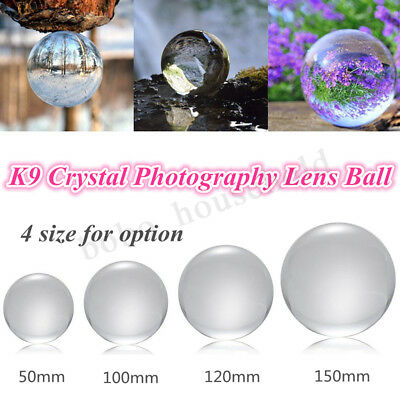 50-150mm K9 Clear Crystal Paper Weight Magnifying Lens Ball Photo Prop Home Deco