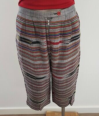 Vintage 80s HANDMADE Thai Silk Multi-colour STRIPE Knee Length SHORTS size 10