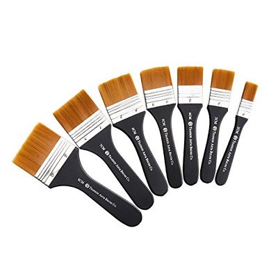 Lightwish Set of 7 Flat Paint Brushes for Applying Gesso, Acrylic paint, Oil