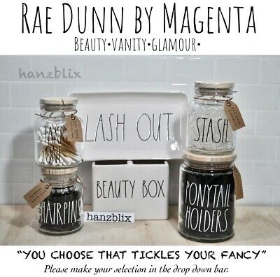 "Rae Dunn Canister Organizer Beauty Desk Bath Vanity THINGS STUFF ""YOU CHOOSE""'19"