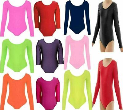Girls Plain Long Sleeve Bodysuit Childrens Gymnastics Leotard Top Pack Of 3