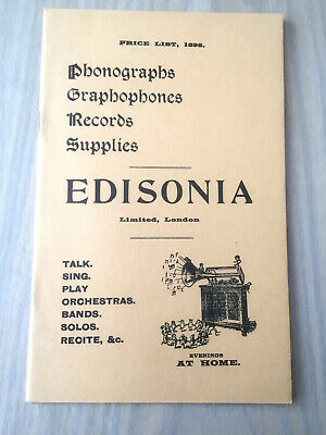 Edisonia Limited London - Reproduction of 1898 Price List - 16 Page Booklet