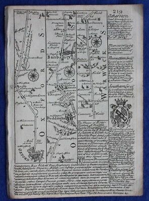Original antique road map, OXFORDSHIRE, WARWICKSHIRE, COVENTRY, Bowen, c.1724