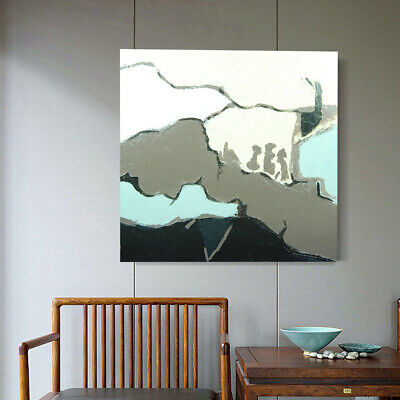 Hand Painted Framed Abstract Canvas Oil Painting Modern Wall Art Home Decor Sea