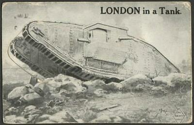 Novelty Postcard 1918 - LONDON in a Tank - 12 View Pull Out